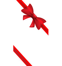 red ribbon with red bow isolated bow vector image