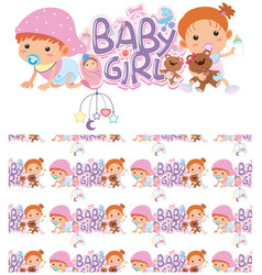 Seamless background design with bagirls vector