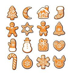 set cute gingerbread christmas cookies hand vector image