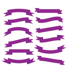 Set of beautiful festive purple ribbons vector