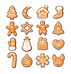 set of cute gingerbread christmas cookies hand vector image