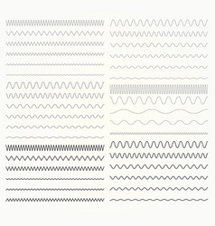 Set of wavy lines - zigzag and squiggly borders vector