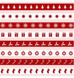 set red and white christmas icons vector image