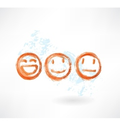 Set smiles grunge icon vector image
