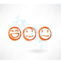 Set smiles grunge icon vector