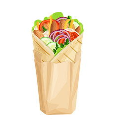 Shawarma or chicken wrap vector