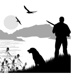 Silhouette of a hunter with dog vector