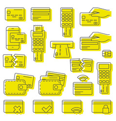 simple set credit card related line icons vector image