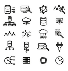 simple set of big data database cloud computing vector image