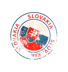 slovakia sign vintage grunge imprint with flag on vector image