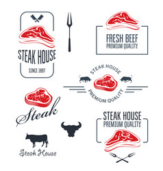 Steak house or butchery - meat store labels vector
