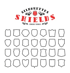 Stock set of shields silhouettes vector image