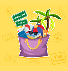 summer beach element in bag vector image