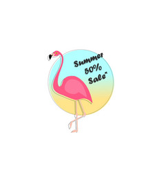 summer sale banner with paper cut flamingo exotic vector image