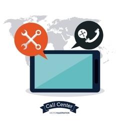 Tablet call center icon vector