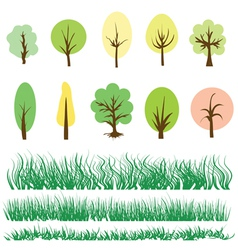 Trees and grass vector