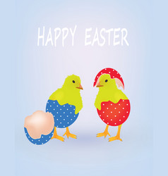 two chicken coming from easter eggs vector image