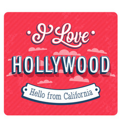 Vintage greeting card from hollywood vector