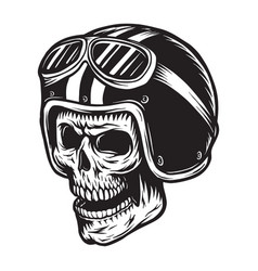 vintage monochrome skull rider concept vector image
