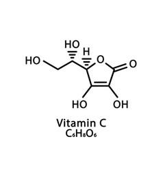 Vitamin c ascorbic acid molecular structure vector