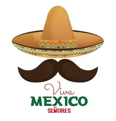 Viva mexico moustache and hat design vector