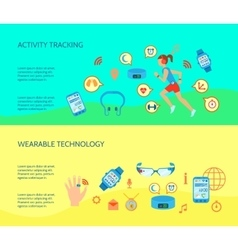 Wearable Technology Compositions Set vector image