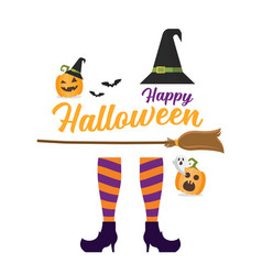 Witch legs witch broom and hat vector
