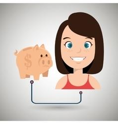 Woman cartoon piggy money vector