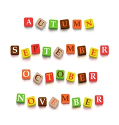 Words autumn september october novtember with vector