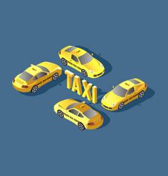 Yellow sedan car taxi transport service vector