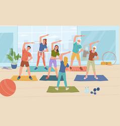 Yoga fitness classes in sport gym training women vector
