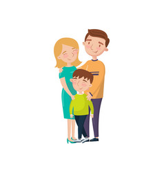 young happy couple posing with their son cartoon vector image vector image