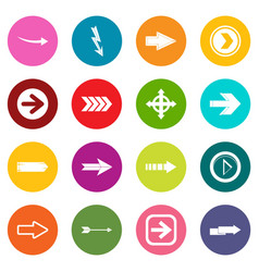 arrow icons many colors set vector image vector image