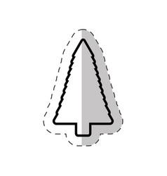 christmas tree pine cut line vector image