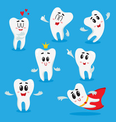 cute happy shiny white tooth characters showing vector image vector image