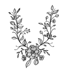 hand drawn floral frame vector image