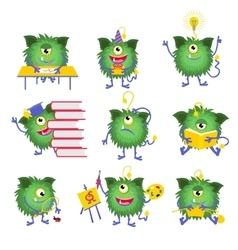 Kids education Monster character with book vector image vector image
