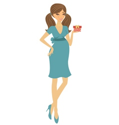 Chic preggy with gift box vector image