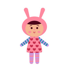 cute cartoon baby doll toy colorful vector image