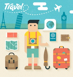 Flat Icons Set of Travel Holiday vector image vector image