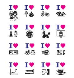 Funny love icon set vector image vector image