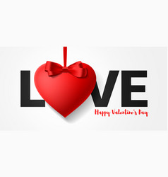 happy valentines day greeting card design word vector image