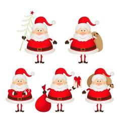 set of cute smiling Santa Claus vector image vector image