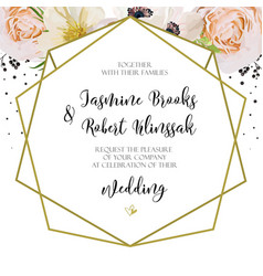 wedding invitation invite card design with pink vector image vector image