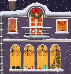 Hand-drawn Christmas background with windows at vector image vector image