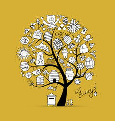honey apiary art tree sketch for your design vector image