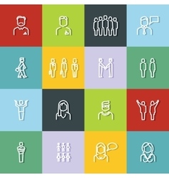 People outline icons with dark shadow on color vector image vector image