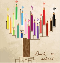 Tree shaped made of colored pencils vector image vector image