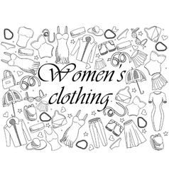 Women clothing coloring book vector image vector image