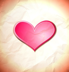 Heart on the crumpled paper vector image